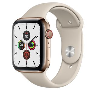 APPLE Watch Series 5 GPS + Cellular 44mm Gold Stainless Steel Case with Stone Sport Band - S/M & M/L (MWWH2KS/A)