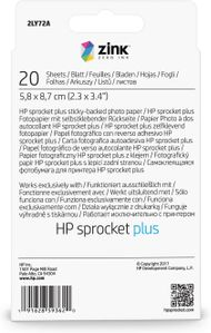 HP SPROCKED PLUS PHOTO PAPER 20 SHEETS 5.8X8.7CM SUPL (2LY72A)