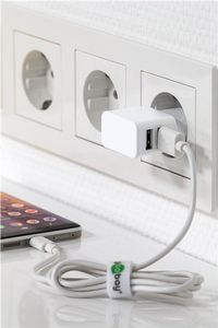GOOBAY Dual USB charger 2.4 A, white - with 2 USB ports, slim design (44952)