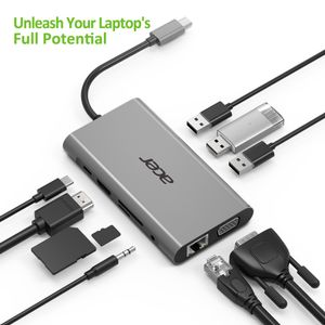 ACER 10-IN-1 TYPE-C DONGLE -> 3XUSB 3.0, HDMI, VGA, TYPE C PD, SD CARD READER, TF CARD READER, 1000M ETHERNET, AUDIO (HP.DSCAB.002)