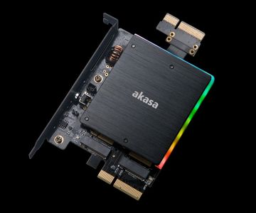 AKASA Dual M.2 SSD to PCIe adapter card with heatsink cooler and RGB LED light (AK-PCCM2P-04)