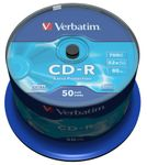 VERBATIM CD-R 80min 700MB DataLife Extra Protection 52xSpeed *50-pack* CakeBox
