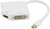 DELTACO Mini DisplayPort til DVI/ HDMI/ VGA-adapter,  0,15m, hvid