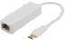 DELTACO USB 3.1 network adapter, Gigabit, 1xRJ45, USB Type C, white