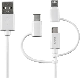 DELTACO USB C/Micro USB/ Lightning-sync/ -charge cable, MFi, 1m, white (IPLH-179)