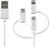 DELTACO USB C/Micro USB/ Lightning-sync/ -charge cable, MFi, 1m, white
