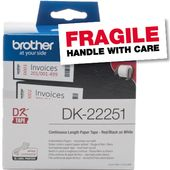 BROTHER Continuous Tape 62mm Black-Red on White 15.24m