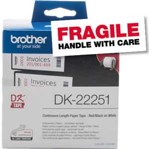 BROTHER labels 62mm black/red roll (DK22251)