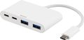 DELTACO USB 3.1 type-C to 2x type-C and 2x type-A adapter, 5Gbps, white