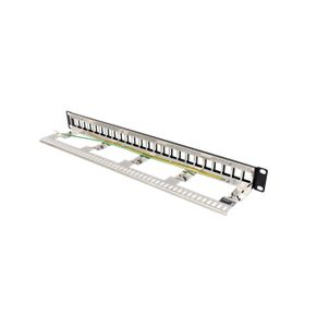 """DELTACO 19"""" blank patch panel, 1U, 24 ports, shielded, cable management,  marki (PAN-214)"""